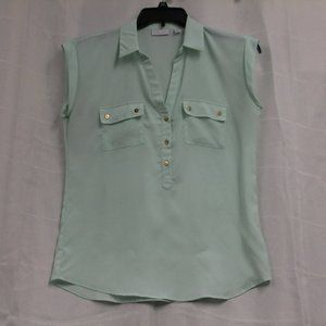 light green sleeveless top